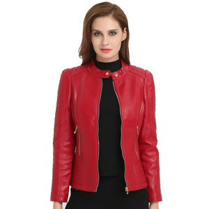 Woman Short Motorcycle Pu Leather Zipper Red Jacket for Female Women Basic Jackets Autumn Large Sizes Outerwear