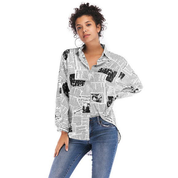 Women English Letter Printing All Match Long Sleeve Newspaper Shirt Top