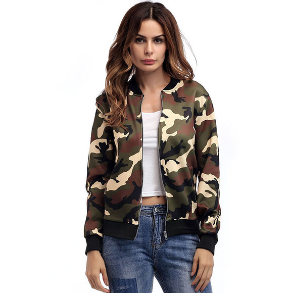 Women Fashion Camouflage Printing Zipper Baseball Uniform Jacket Coat
