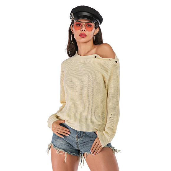 Fashion Autumn Winter Women Sweater Off Shoulder Buckled Knitted Sweater