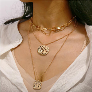 Retro Style Irregular Stamp Artificial Pearl Bead Double Layer Necklace