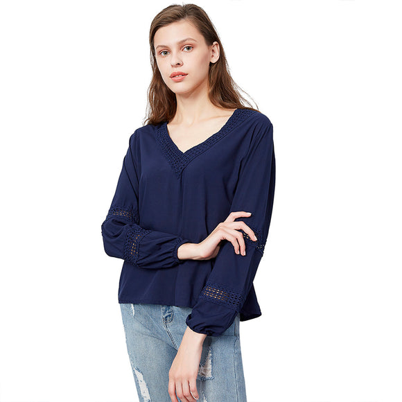 Women Lace V-collar Blouse Long-sleeved Casual Spring and Autumn Hollow Pullover Top