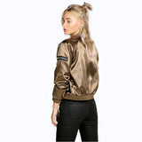 Woman Champagne Gold Long Sleeve Round Collar Zip-up Jacket