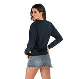 Top Hoodie Long Sleeve Patchwork Pullovers O-neck Loose Sweatshirt
