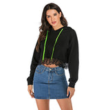 Sweater Women's Personality Solid Color Black Long-sleeved Hooded Lace Stitching Short Sweatshirt