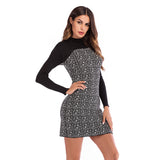 Dress Fall Winter Women Dress Commuter Hit Color Plaid Stitching Long-sleeved Knitted Dress Women