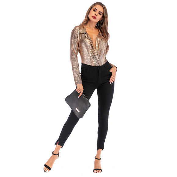 Female Sexy Long Sleeves Jumpsuit Female Deep V-Neck Shirt Bodysuit Stretchy Top Plunge