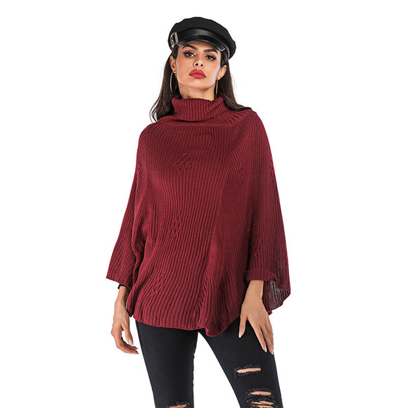 Fashionable Loose Easy Matching High Collar Pullover Knitted Sweater Woman