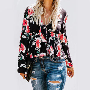 Women Casual Long Sleeve Printing T Shirt for Outdoor Wear