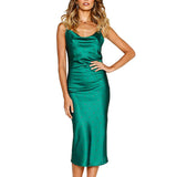 Sexy Long Sling Dress with Deep V-Neck Slim Evening Dresses for Woman