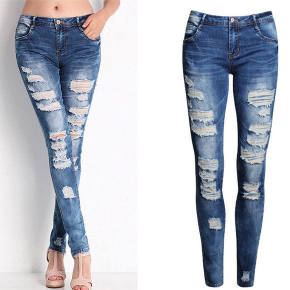 Women Cotton Elastic Pencil Pants Jeans