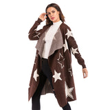 Women Fashion Winter Thick Warm Loose Star Pattern Knit Sweater Big Lapel Long Coat
