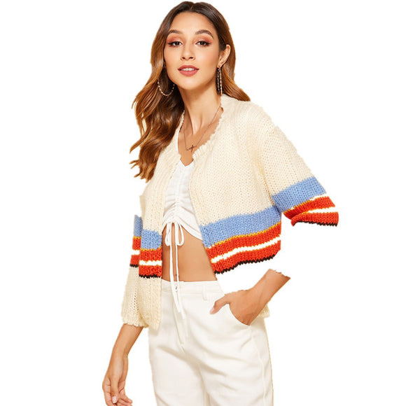 Long Knitted Color Stripe V-neck Loose Coat Long Sleeve Sweater Women