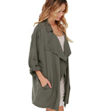 Women Stylish Trench Coat Open Stitch Pockets Long Sleeve Drawstring Female Casual Outwear Coat