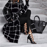 Wool Blend Contrast Color Plaid Long Woolen Jacket Coat - Ladies Fall Winter Contour Gingham Checkered Outerwear