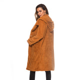 Wool Blends Lamb Faux Fur Long Jacket Coats Pocket Female Thick Warm Solid Teddy Fleece Soft Plush Outerwear