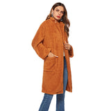 Women Wool Blends Lamb Faux Fur Long Jacket Coats Pocket Female Thick Warm Solid Teddy Fleece Soft Plush Outerwear