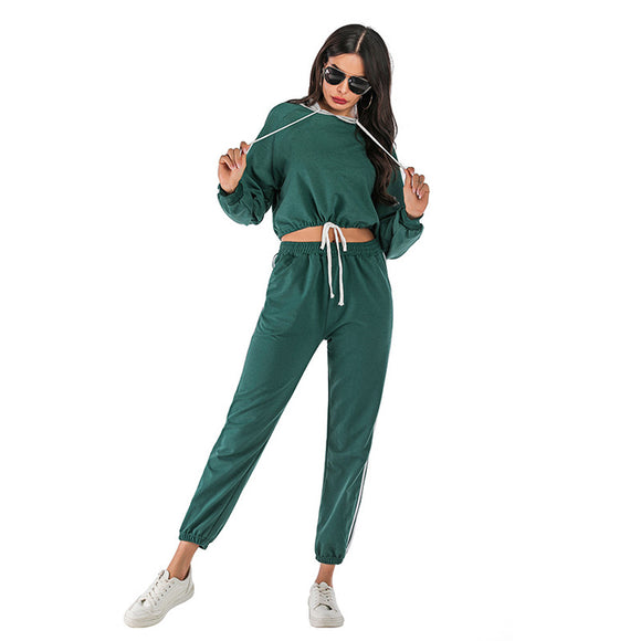 2Pcs Women Tracksuit Sweatshirt Pants Sets Sports Long Sleeve Wear Casual Suit