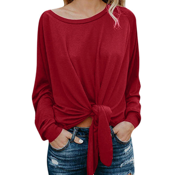 Women Lady Autumn Winter Solid Color Casual New Round Neck Long-sleeved T-shirt with Bow Top