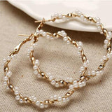 Women Pearl Large Circle Simple Retro Street Earrings