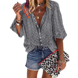 Women Lady Casual Loose Long Sleeve V-Neck Button Dot Printed Blouse Top Shirt Vacation