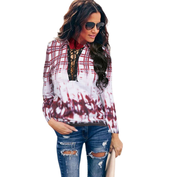 Women Lady Fashion Striped Printed Round Neck Long Sleeve Casual Loose Shirt Top