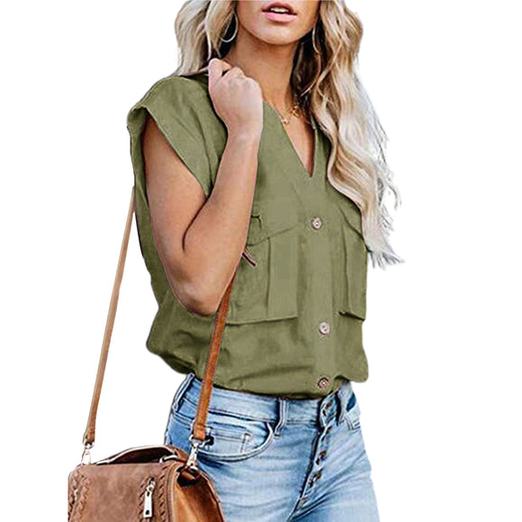 Women Lady Fashion Summer Short Sleeve Solid Color Stand Collar Button Top Shirt Vacation