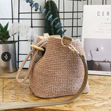 Women Straw Weaving Single Shoulder Cross Body Braided Bag for Beach Dating