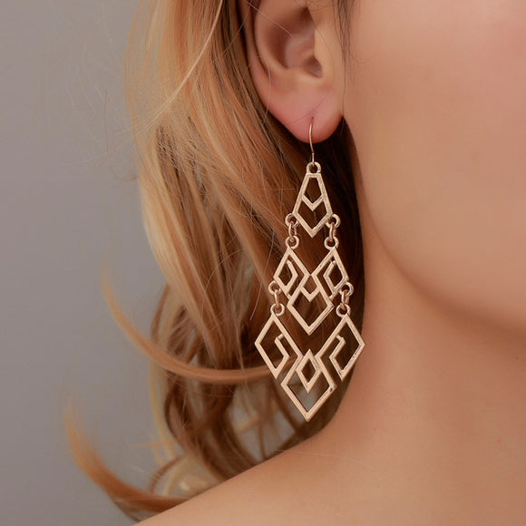 Women Diamond Hollowing Long Exaggeration Geometry Earrings