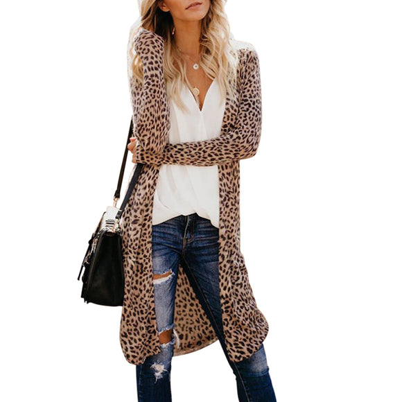 Women Leopard Camouflage Printing Lightweight Button Long Windbreaker Coat with Pocket