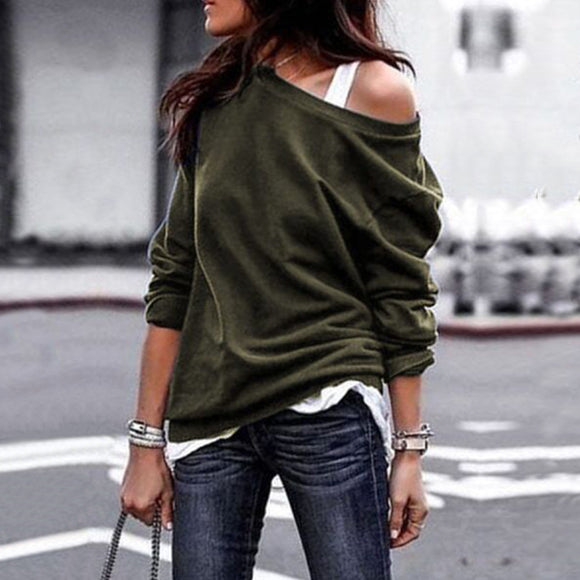 Women Fashion Large Slant Collar Long Sleeve Casual Solid Color Sweatshirt Pullover