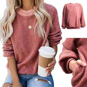 Women Autumn Winter Warm Casual Loose Sweater Long-sleeved Thick Plush Round Neck Top