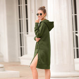 Woman Long Sleeves Sweater Dress Hoodie Split Solid Dress with Buttons
