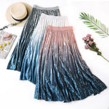 Gradient Diamond Velvet Pleated Skirt A Line Female Temperament Shiner Expansion Skirt