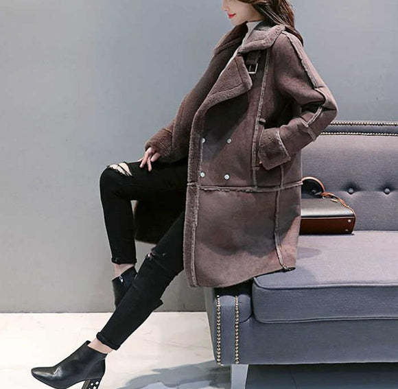 Women Fashion Loose Medium Long Suede Fabric Padded Coat