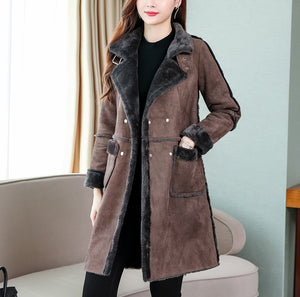 Womem Loose Solid Color Medium Long Suede Fabric Padded Coat for Winter