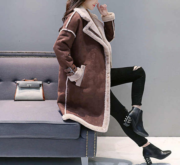 Warm Thicken Medium Long Suede Fabric Padded Coat for Winter