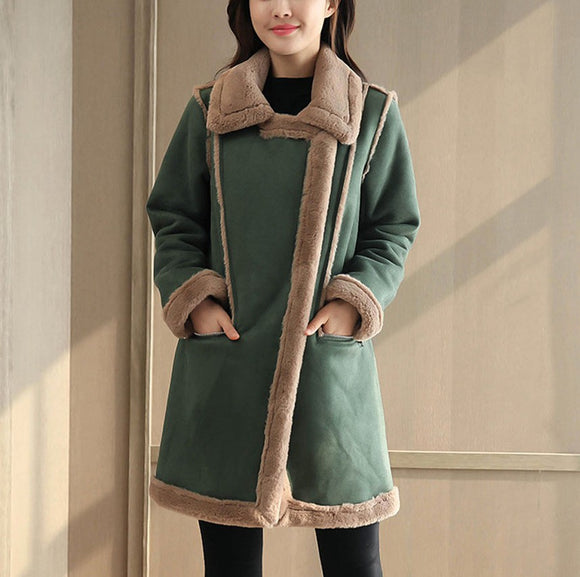 Women Fashion Winter Coat Suede Lamb Wool Padded Jacket Cotton Coat