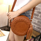 Women Adjustable Braided Tassels Round Single Shoulder Casual Bag for Dating Shopping