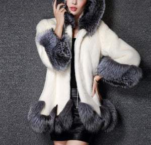 Women's Coat Hooded Coat Mid-Length Elegant Style Artificial Fabric with Belt