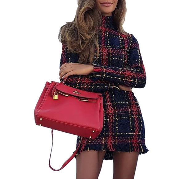 Winter Autumn Plaid Striped Dress Long Sleeve Women Slim Bress