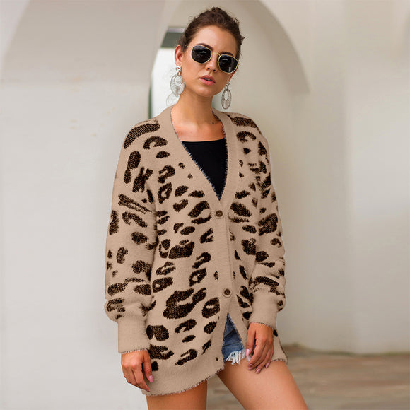Women Autumn Winter Loose Cardigan Leopard V-neck Long Sleeve Knitting Sweater Coat