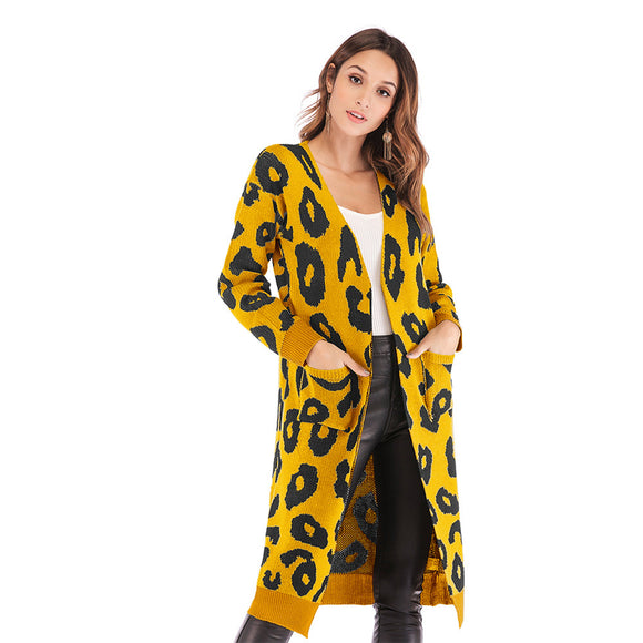Women Loose Long Cardigan Leopard V-neck Pockets Autumn Winter Knitting Sweater Coat