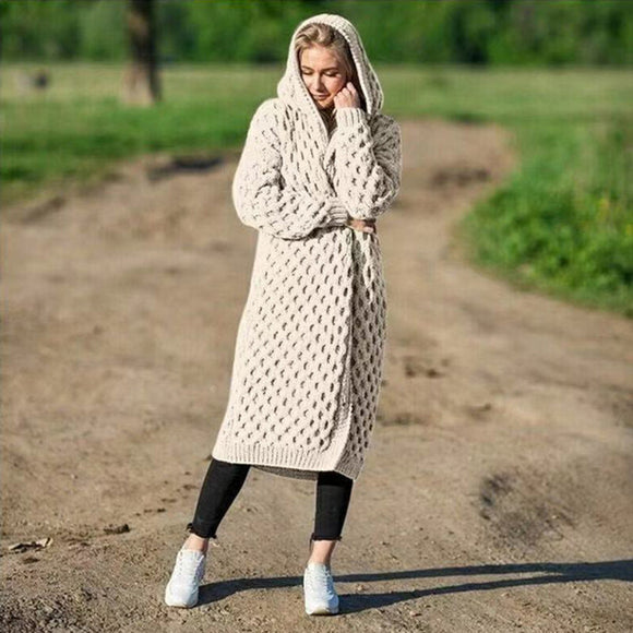 Women Winter Fashion Long Knitting Sweater Coat Solid Color Loose Warm Hoodie Cardigan