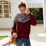 Women Mosaic Leopard Long-sleeved Hooded Sweater Autumn Hooded Autumn Winter Coat