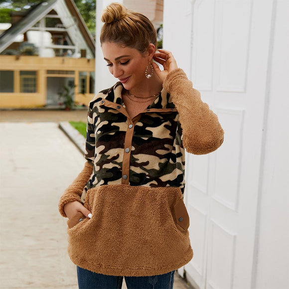 Autumn Winter Women New Camouflage Stitching Sweater Short Plush Long Sleeve Top