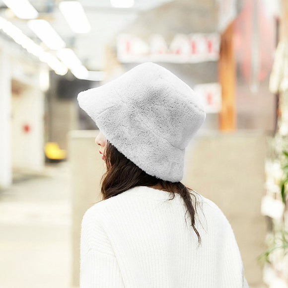 Women Flat-Top Broadside Thicker Warm Artificial Wool Hat for Autumn Winter
