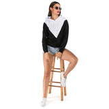 Woman Drawstring Hat Blouse Casual Hoodie Top Long Sleeves Sweater