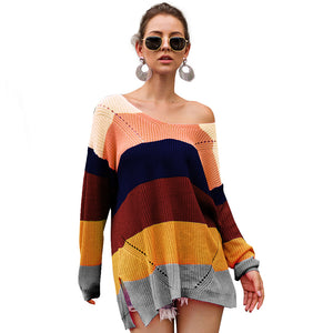 Women Long Sleeve V-Neck Rainbow Stitching Sweaters Casual Pullover for Autumn Winter