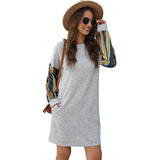 Women Lady Autumn Color Striped Round Neck Casual Loose Long Sleeve Dress